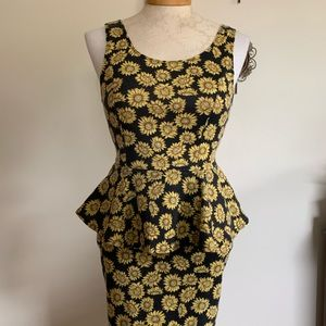 Vintage Peplum Sunflower Dress